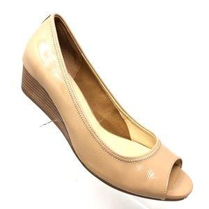 Cole Haan Air Tali Nude Patent Peep Toe Wedge 8.5B